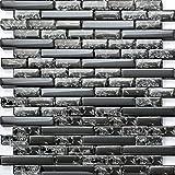 Carrelage mosaïque en verre. Noir. Effet verre craquelé ou fissuré. Les feuilles entières de carreaux mesurent 30cm x 30cm (MT0074)