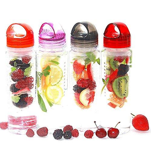 Lot de 2 Bouteilles d'Eau à Infusion de Fruits - sans BPA - 800 ml , rose