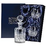 Royal Scot Kristall Edinburgh Connoisseur Crystal Whisky Dekanter Set mit Fass Tumbler Gläser
