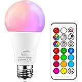 iLC Bombillas Colores RGBW LED Bombilla Regulable Cambio de Color Edison 10W E27 - RGB 12 Color - Control remoto Incluido par