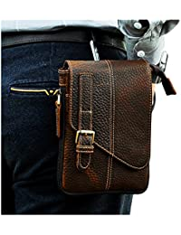 Le'Aokuu Mens Genuine Leather Coffee Fanny Small Messenger Shoulder Satchel Waist Bag Pack (Dark Brown 3)