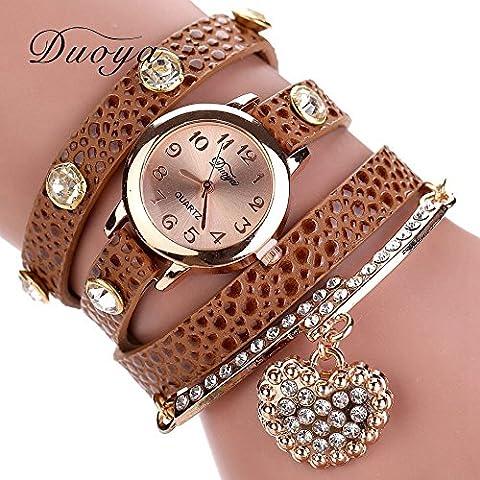 Nusey (TM) Nuovo lusso casual cuore ciondolo braccialetto da polso Donne Donne Abito Orologi della vigilanza di modo vigilanza di marca