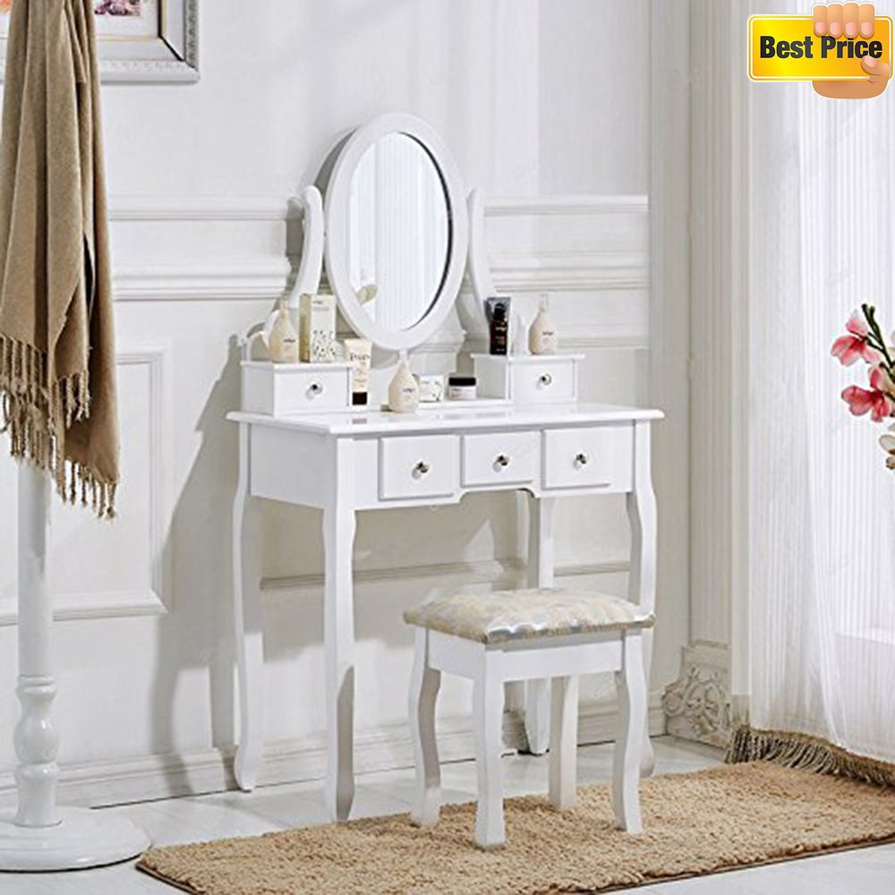 schindora white dressing table and chair makeup desk with stool 5 drawers and ov ebay. Black Bedroom Furniture Sets. Home Design Ideas
