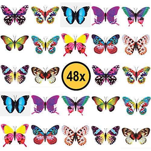 48x Schmetterling Kinder Tattoos / für Jungen und Mädchen / Mitgebsel / Kindergeburtstag / Butterfly / Kinder Tattoo Set von PartyPack