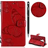 WIWJ Schutzhülle für Huawei Mate 9 Handyhülle Leder Case für Huawei Mate 9 Hülle Lederhülle [3D-geprägtes Schmetterlings Handy Case]Hülle für Huawei Mate 9-Rot