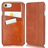"""KAVAJ iPhone 8 iPhone 7 Tasche Leder """"Dallas"""" Cognac-Braun iPhone 8 Ledertasche mit Kartenfach für Original Apple iPhone8 aus Echtleder Hülle Case Etui Lederhülle Ledercase Handyhülle Echtledertasche"""