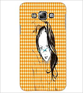PrintDhaba Girl with Specs D-2913 Back Case Cover for SAMSUNG GALAXY E7 (Multi-Coloured)