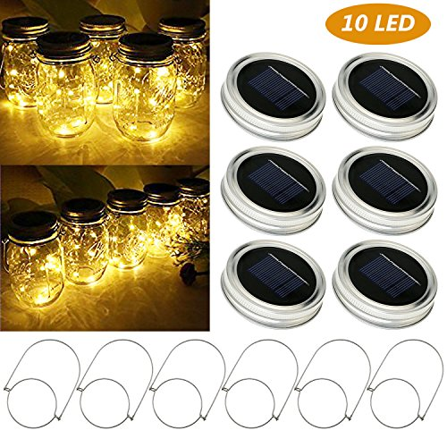 6Pcs Mason Jar Luci solari, Tencoz Lampada Solare, per Lampade per la Decorazione di Natale del Partito del Patio Albero Decorazioni di Cerimonia Nuziale (bianco caldo)