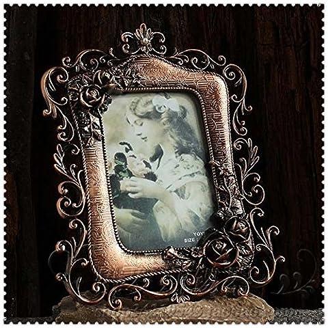 Europaische klassischen pastoralen retro hohlen geschnitzt Bilderrahmen Zinn 6-Zoll-Fotorahmen romantischen Rosen Sechs-Zoll-Bilderrahmen