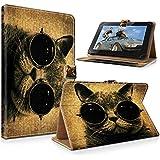 "art&cherry 7"" (7Zoll) Tablet / Tablet-PC Hülle Case - Fintie Ultradünne Smart Shell Cover Lightweight Schutzhülle Tasche Etui Katze mit Brille"