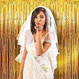 Party Propz Set of 4 Metallic Fringe Golden Foil Curtain for Birthday,Anniversary,Wedding,Bachelorette,Baby Shower Party Decoration (3 Feet X 6 Feet)