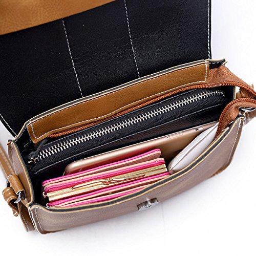 Neu Messenger Bag Koreanische Version Kleine Quadratische Tasche Mode Große Kapazität Quasten Schrubben Leder Schultertasche Handtaschen Brown