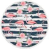 styleBREAKER Rundes Strandtuch mit Flamingo, Hibiskus Blüten und Streifen Motiv, Fransen Tuch, Badetuch, Unisex 05050065, Farbe:Weiß-Rosa-Blau