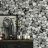 JJLEzl Papel Pintado De Piedra De Personalidad Retro 3D Papel Tapiz De Adoquines De Pared De Piedra Bar Cafetería Restaurante Tienda De Ropa Fondo De Pantalla Gris