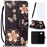 Lotuslnn Coque Samsung Galaxy A3 2016, Housse Samsung Galaxy A3 2016/SM-A310 Cuir Etui Flip Wallet Case-( Coque+ Stylus Stift+Screen Protector)-Fleur, Or