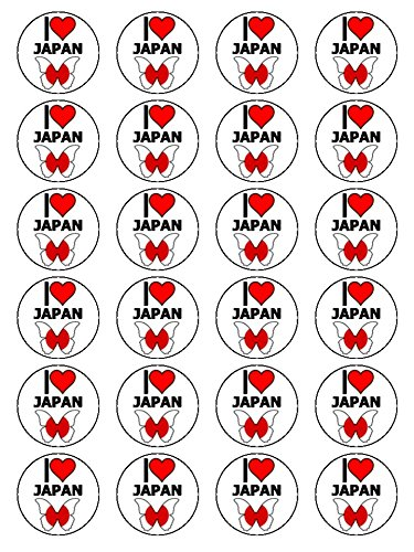 X24 1.5 Inch I Love Japan Cup Cake Toppers Decorations On Edible Rice Paper