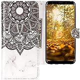 CLM-Tech kompatibel mit Samsung Galaxy S9 Hülle, Tasche aus Kunstleder, Blume Ornament Marmor schwarz weiß, PU Leder-Tasche für Galaxy S9 Lederhülle