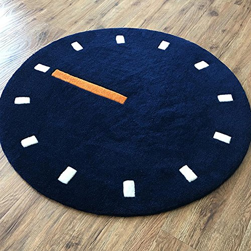Wly&Home Runder Teppich, Stilvolle Schlafzimmer-Bett-Decke, Computer-Stuhl-Decke, Handgestrickte Verdickte Uhr-Borduhr,Blue,120Cm