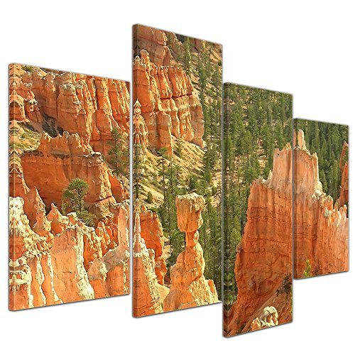 Wandbild - Thor's Hammer Amphitheater, Bryce Canyon, USA - Bild auf Leinwand - 120x80 cm 4 teilig - Leinwandbilder - Landschaften - Amerika - Utha - Nationalpark - Hoodoo - Felsen - Bryce Amphitheater