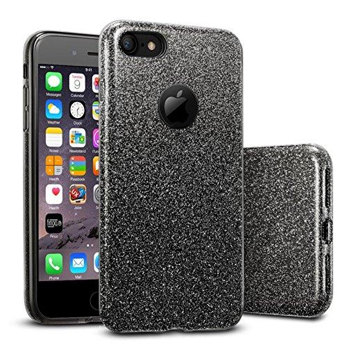 FINOO | Iphone 6 / 6S Rundum 3 in 1 Glitzer Bling Bling Handy-Hülle | Silikon Schutz-hülle + Glitzer + PP Hülle | Weicher TPU Bumper Case Cover | Schwarz