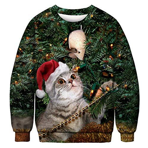 MRULIC Sweat Femme Noël mélange de Coton Tops Tee-Shirt Mode T-Shirt à Encolure Arrondie de Noël pour Couple, Automne et Hiver(Multicolore1B,M)