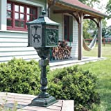 FREE STANDING OUTDOOR ALUMINIUM POST LETTER MAIL BOX (GREEN)