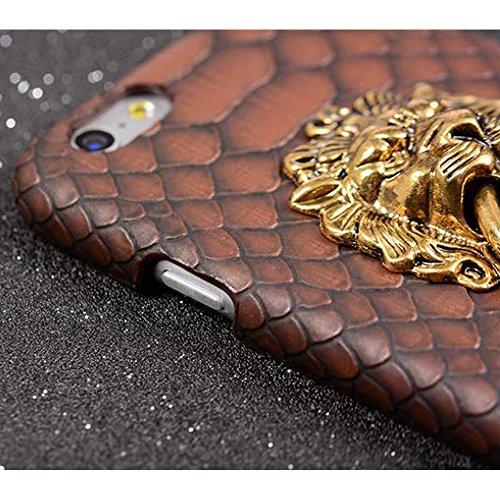 """Sijueam Coque pour Apple iPhone 6S/6 Plus 5,5"""" motif peau de Serpent en PC et cuir PU avec 3D tête de lion Housse de protection Etui Arrière Rigide iPhone 6S/6 Plus 5,5pouces Bumper Case Cover bequill Marron"""