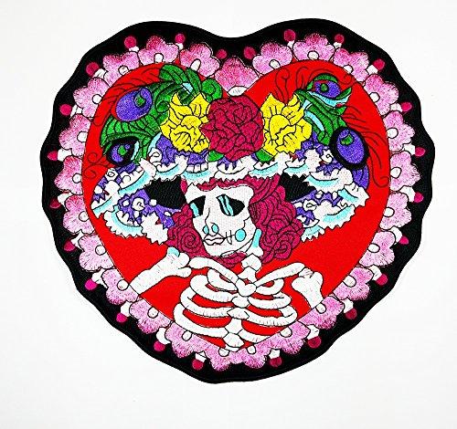 Big Skelett Hat Rahmen Blume, Herz Totenkopf Ghost Day of Death Love Patch Weste/Jacke Biker Patch Motorrad Fahrer Biker Tattoo Jacke T-Shirt Patch Sew Iron on gesticktes Schild Badge - Skelett Biker-shirt