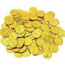 BAKHK 200 Piraten Goldmünzen 3,5 cm, Piratenschatz Piraten Münzen Kindergeburtstag Geschenk Piratenparty Dekoration Goldtaler Kinder Spielzeug für Grabung und Schatzsuche