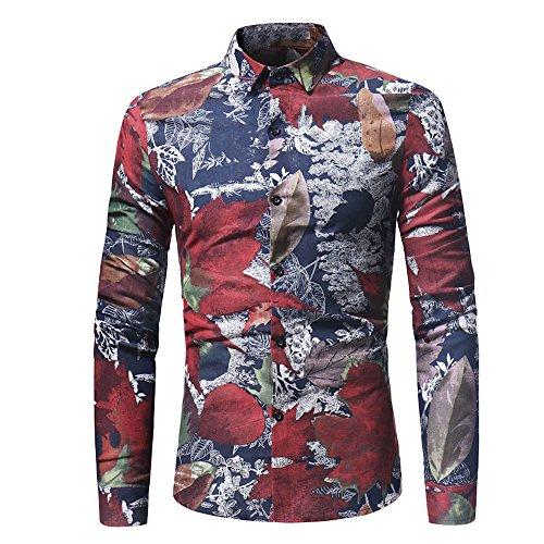 Kostüm Shirt Rot Gestreifte - MRULIC Herren Shirt Kentkragen Langarm Shirts Businesshemd Freizeithemd Oktoberfest Karnevals kostüm(D-Rot,EU-52/CN-3XL)