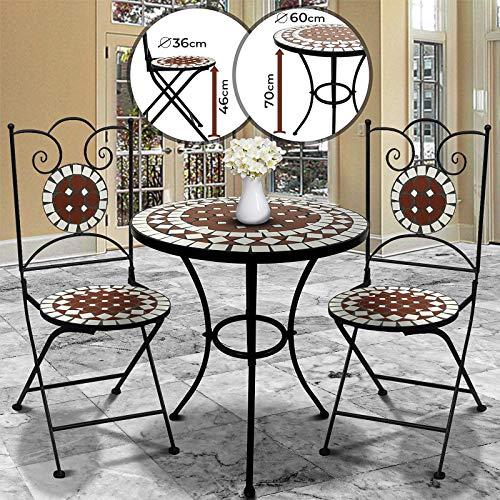 Jago Mosaik Balkonmöbel Set - Tisch Rund (Ø/H: 60x70cm) mit 2 Stühlen Klappbar (46cm Sitzhöhe) in Rot Weiß - Sitzgarnitur, Sitzgruppe, Gartenmöbel -