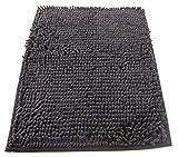 tappeto da bagno camera ingresso e cucina, a pelo lungo 2.5 cm, materiale in micro fibra, scendi doccia morbida, assorbente, lavabile in lavatrice, retro in gomma antiscivolo nero 50x80cm