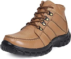 Bacca Bucci Lifestyle Genuine Leather Casual Work Shoes for Men Medium top Round Neck Non-Slip Water Resistant Boots