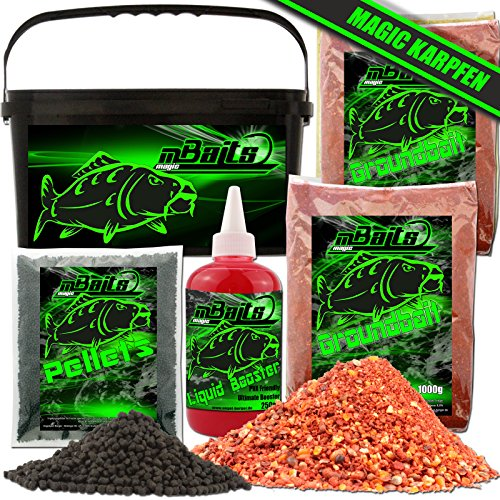 Angel-Berger Magic Baits Futterset mit Eimer Angelfutter Groundbait Liquid Pellets (Karpfen)