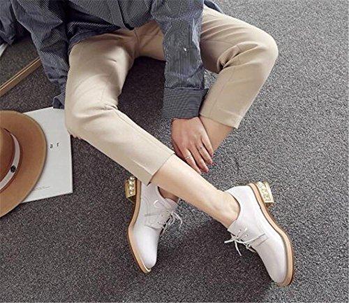 36to41 Oxford Blanc Pour Femmes Lacer Perlé Chaussures Verni Cuir qwCAqXd