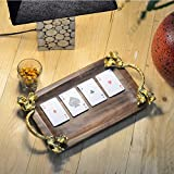 #7: Casa Décor Mango Wood Handcrafted Serving Tray for Dining Tableware, Table Decor Tray with Gold Plated Inlay Metal Handles