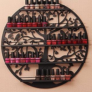 Nagellack Rack Halter ätherisches Öl Organizer Wand montiert 5Etagen Baum Silhouette rund Metall Salon Art Wand Display von aishn (schwarz) schwarz