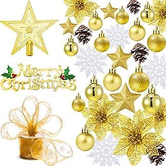 72 Piezas de Adornos de Navidad, Decoraciones Temáticas de Árbol de Navidad, Incluye Copo de Nieve, Piñas, Bolas de Navidad, Estrellas, Cinta, Flores de Árbol de Navidad