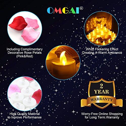 OMGAI® del té del LED Luces - 24 AMARILLO sin aroma Tealight Velas Decoración PRIMA pétalos de rosa -. 1.4X1.4