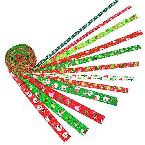 iSuperb 12 Stück Weihnachtsbänder Schleifenband Satinband Dekoband für Weihnachten Hochzeit Verzieren DIY Handwerk Jeweils 2 Meter … (12PCS Band)