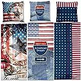 Aminata - coole Teenager-Bettwäsche USA Flagge 135x200 cm Baumwolle Amerika-Motiv amerikanische Bettwäsche USA-Motiv Vintage Jungen Mädchen Teen Star Texasstern