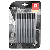 Arteza Inkonic Fineliner Pens, Black, 0.4 mm Tips, Set of 12, Water-Based, Non-Toxic, Fine Line Drawing Pens for Detailed Artwork & Mixed Media