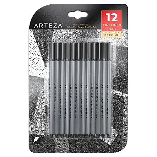 Arteza Fineliner Stifte - Feine Filzstifte 0.4mm Spitze - 12 Schwarze Feinstifte (Schwarzer Filzstift)