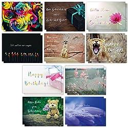 20er Geburtstagskarten Set mit lustigen Postkarten // 2 x 10 hochwertige und moderne Karten mit Sprüchen rund um Geburtstag// UV-Hochglanzlackierung und 350g Bilderdruck für höchste Qualität // Glückwunschkarten von Sophies Kartenwelt