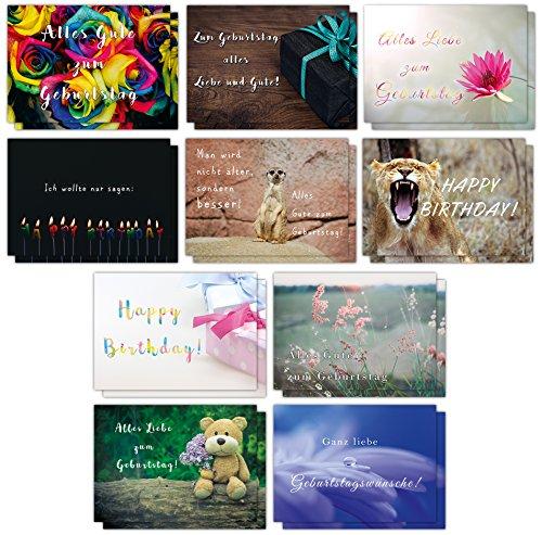 20er Geburtstagskarten Set mit lustigen Postkarten // 2 x 10 hochwertige und moderne Karten mit Sprüchen rund um Geburtstag// UV-Hochglanzlackierung und 350g Bilderdruck für höchste Qualität // Glückwunschkarten von Sophies Kartenwelt (Geburtstag Karten)