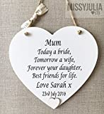 Mother of the Bride Heart Thank You Gift Wedding Wooden Card Plaque W254