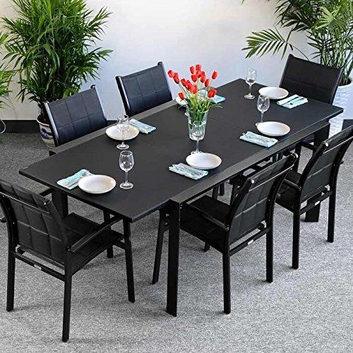 Table Janine et 6 chaises Georgia - NOIR | Table extensible 220cm pour l'intérieur et l'extérieur