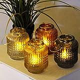 Multistore 2002 4tlg. Teelichthalter Set Ø9xH12cm mit Goldenen Henkel Teelichtgläser in 4 Farben Kerzenhalter Windlicht
