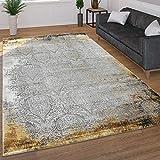 Paco Home Moderner Kurzflor Wohnzimmer Teppich 3D Optik Orientalisches Muster In Grau Gelb, Grösse:200x290 cm