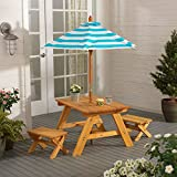 Outdoor Table w Benches Umbrella